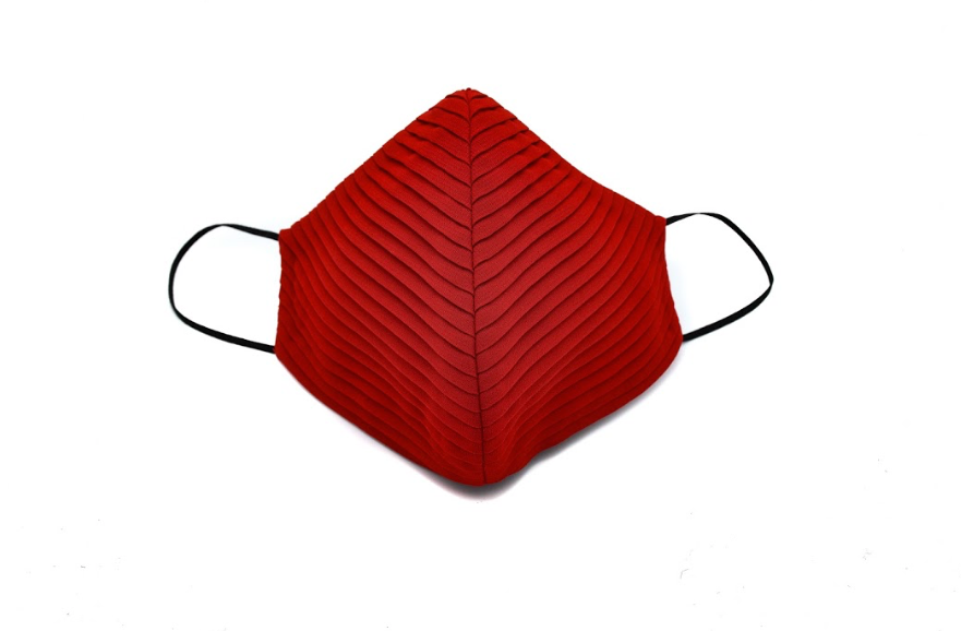 Red Chiffon Side Pleated Standard Mask