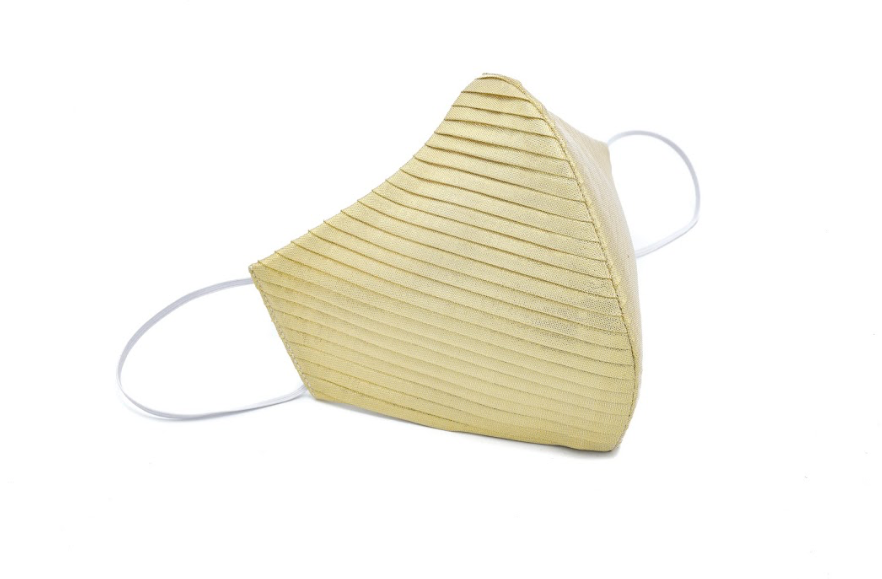 Gold Pleated Silk Lamé Standard Mask
