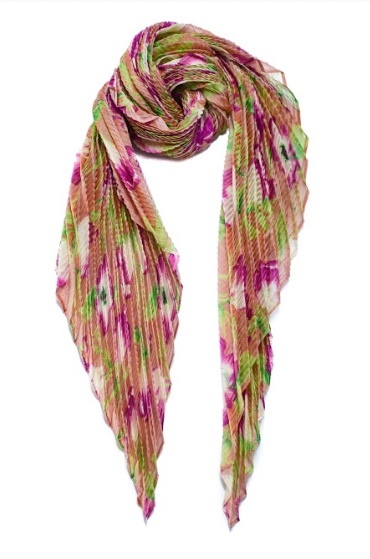 Pink Floral Crinkle Chiffon Accordion Pleated Scarf
