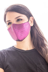 Fuchsia Pleated Silk Lamé Standard Mask
