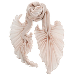 Nude Silk Chiffon Sunburst Pleated Scarf