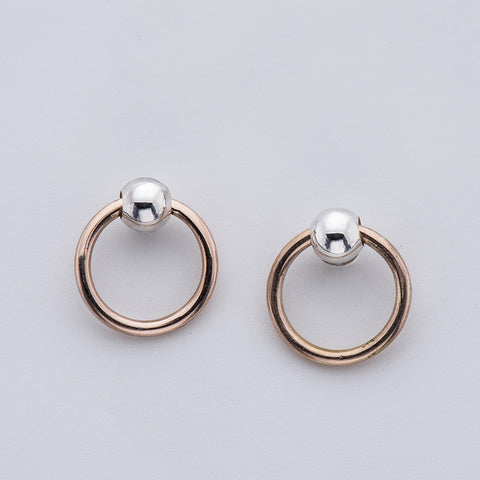 Silver & Rose Gold Mini-Knocker Earring