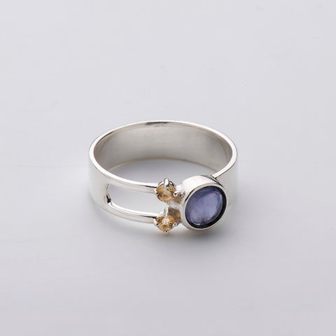 Born from Rock Iolite Threesome Ring