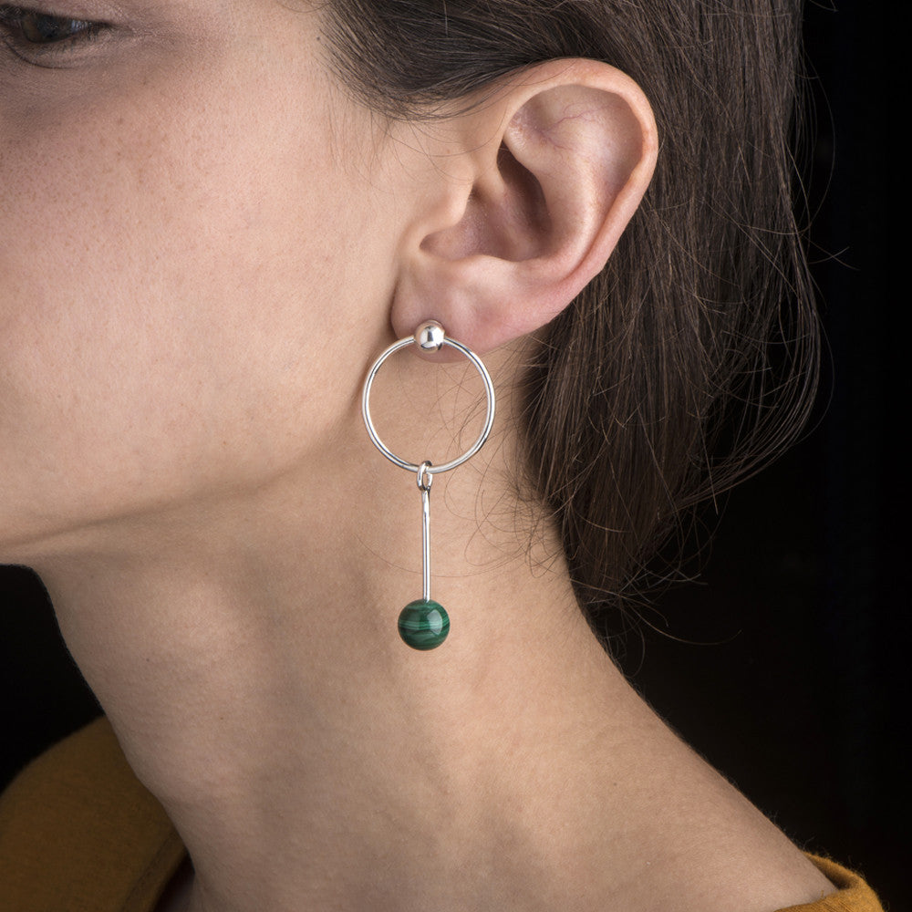 Born from Rock Single Malachite Sinker Earring