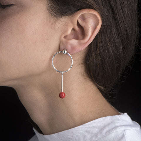 Single Coral Sinker Earring