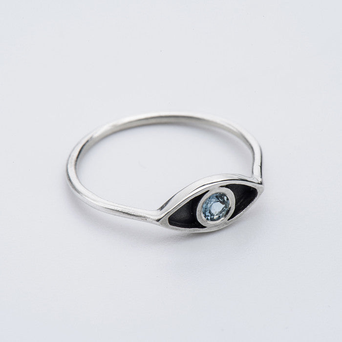 Born from Rock Aquamarine Eye Ring