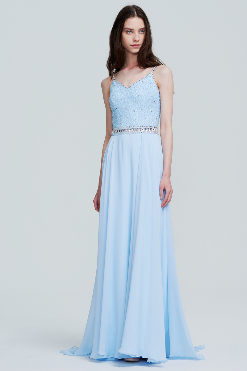 A-Line V-neck Floor-Length Chiffon Bridesmaid Dress With Beading