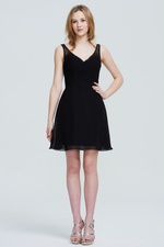 A-Line V-neck Short/Mini Chiffon Homecoming Dress With Ruffle Beading Sequins