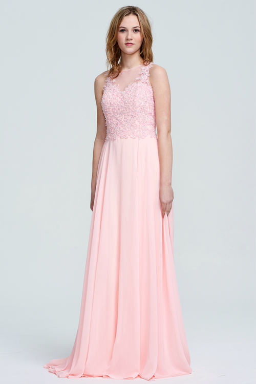 A-Line Scoop Neck Floor-Length Chiffon Lace Top Bridesmaid Dress With Beading