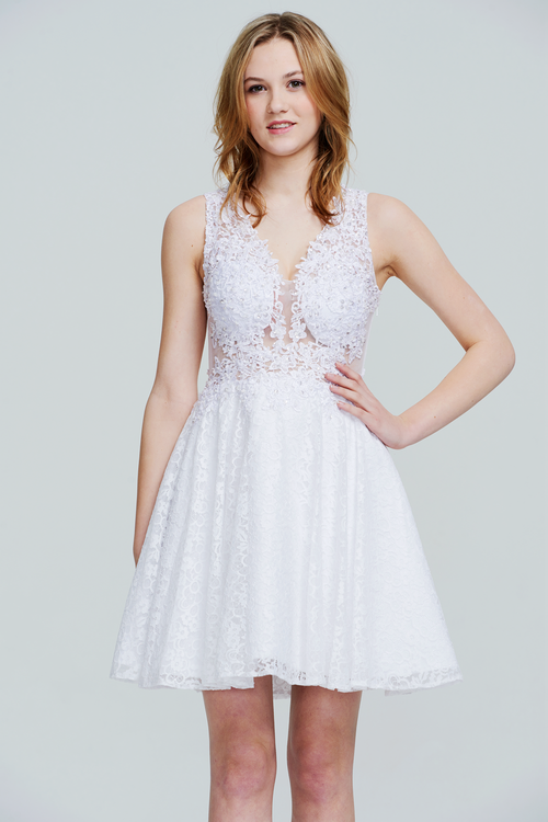 A-Line V-neck Mini/Short Chiffon Homecoming Dress With Lace Beading