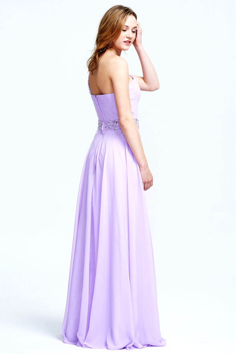 A-Line One-Shoulder Floor-Length Chiffon Lace Bridesmaid Dress With Beading