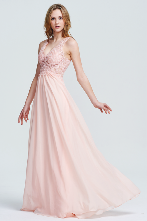 A-Line V-neck Floor-Length Chiffon Sheer Lace Top Bridesmaid Dress With Beading