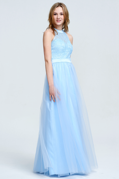 A-Line Scoop Neck Floor-Length Tulle Lace Top Prom Dress With Front Split