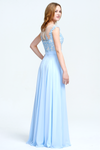 A-Line Scoop Neckline Sweetheart Floor-Length Chiffon Sheer Lace Top Bridesmaid Dress