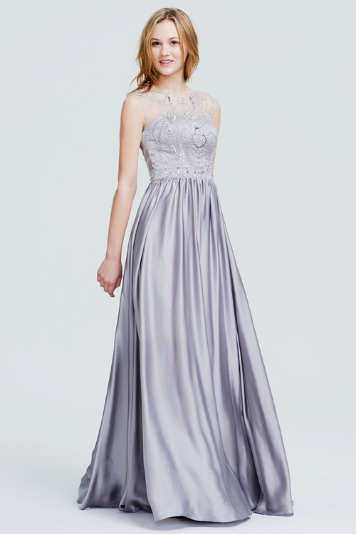 A-Line Scoop Neck Floor-Length Sweetheart Satin Prom Dress With Beading