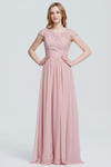 A-Line Scoop Neckline Floor-Length Chiffon Lace Top Bridesmaid Dress With Ruffle Beading Band