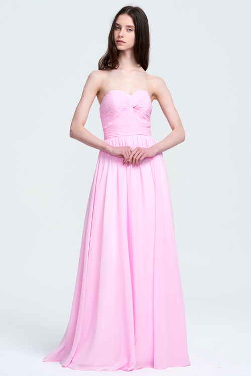 A-Line Strapless Sweetheart Floor-Length Chiffon Bridesmaid Dress With Front Ruffle