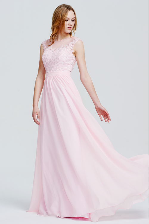 A-Line Scoop Neckline Floor-Length Lace Sweetheart Top Chiffon Bridesmaid Dress