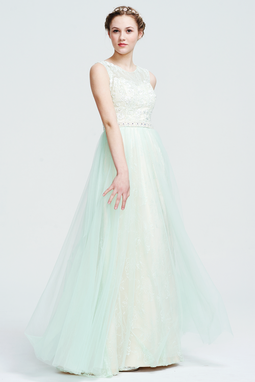 A-Line Scoop Neck  Floor-Length Tulle Bridesmaid Dress With Beading Waist Belt