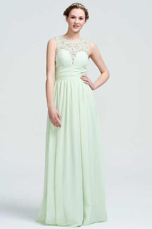 A-Line Scoop Neckline Floor-Length Sweetheart Top Chiffon Bridesmaid Dress With Lace Emblished