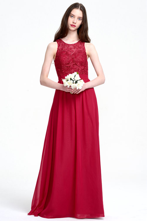 A-Line Scoop Neck  Floor-Length Chiffon Bridesmaid Dress With Lace Flower Top