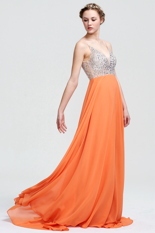 A-Line V-neck Floor-Length Beading Top Chiffon Prom Dress With Backless Design