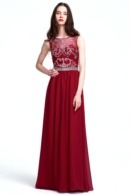 A-Line Scoop Neck  Floor-Length Sweetheart Chiffon Bridesmaid Dress With Beading Top
