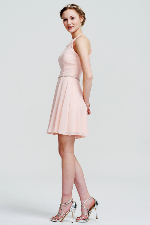 A-Line Halter Neck Mini/Short Sleeveless Chiffon Bridesmaid Dress With Beading