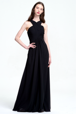 A-Line Halter Neck Floor-Length Chiffon Ruffle Bridesmaid Dress With Straps