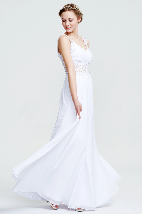 A-Line Sweetheart Neckline Floor-Length Sheer Waist Bridesmaid Dress With Beading Flowers