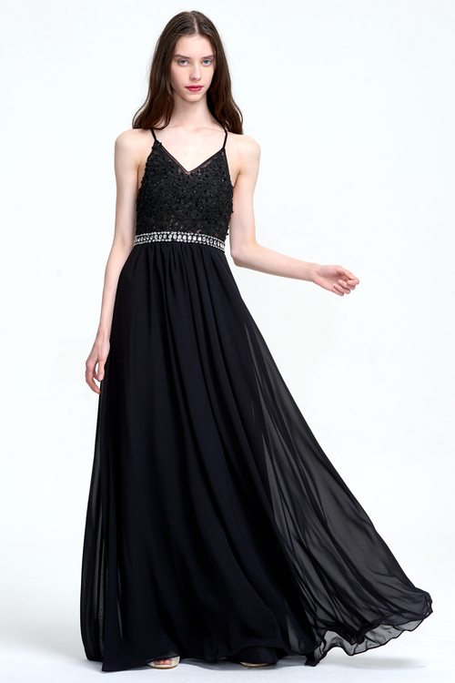 A-Line V-neck Floor-Length Chiffon Prom Dress With Beading Belt