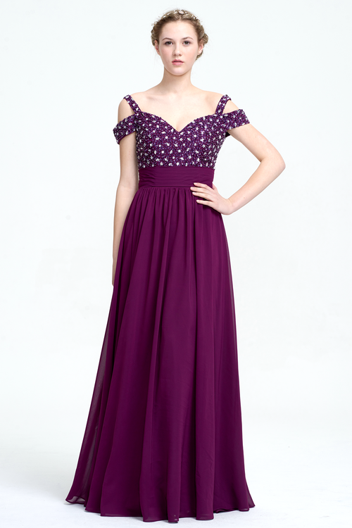 A-Line Off-the-shoulder Sweetheart Neckline Floor-Length Prom Dress With Beading