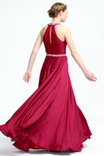 A-Line Halter Neck Floor-Length Chiffon Lace Top Prom Dress With Beading