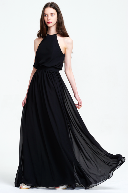 Black A-Line Scoop Neck Floor-Length Chiffon Sleevless Prom Dress