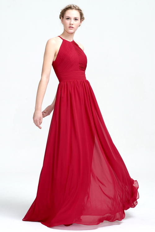 Burgundy A-Line Scoop Neckline Floor-Length Chiffon Prom Dress With Ruffle Design Top