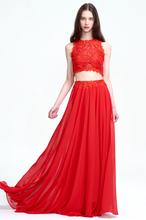 Two Piece A-Line Scoop Neckline Floor-Length Chiffon Prom Dress With Lace Top