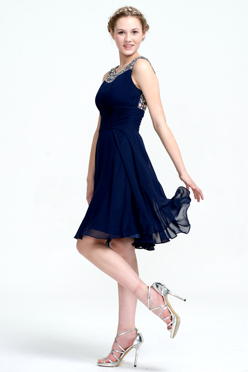 A-Line Scoop Neck Short/Mini Chiffon Sleevless Prom Dress With Beading