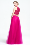 Two Piece A-Line Scoop Neckline Floor-Length Tulle Prom Dress With Beading