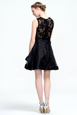 A-Line Scoop Neck Short/Mini Tulle Sleevless Homecoming Dress With Belt Flower