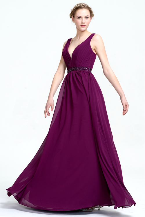 A-Line Deep V-neck Floor-Length Chiffon Prom Dress With Beading