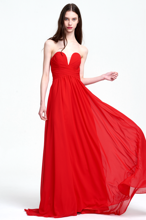 A-Line Strapless Sweetheart Floor-Length Chiffon Prom Dress With Ruffle