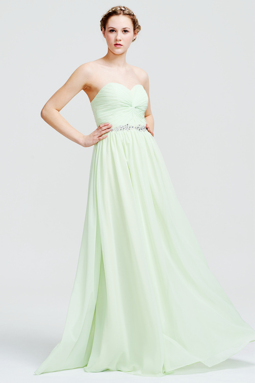 A-Line Strapless Sweetheart Front Ruffle Chiffon Prom Dress With Beading