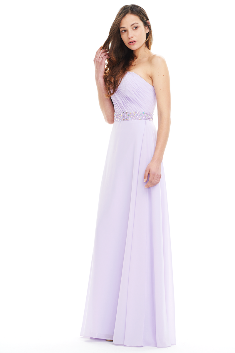 A-Line One Shoulder Ruffle Chiffon Floor Length Prom Dress With Beading