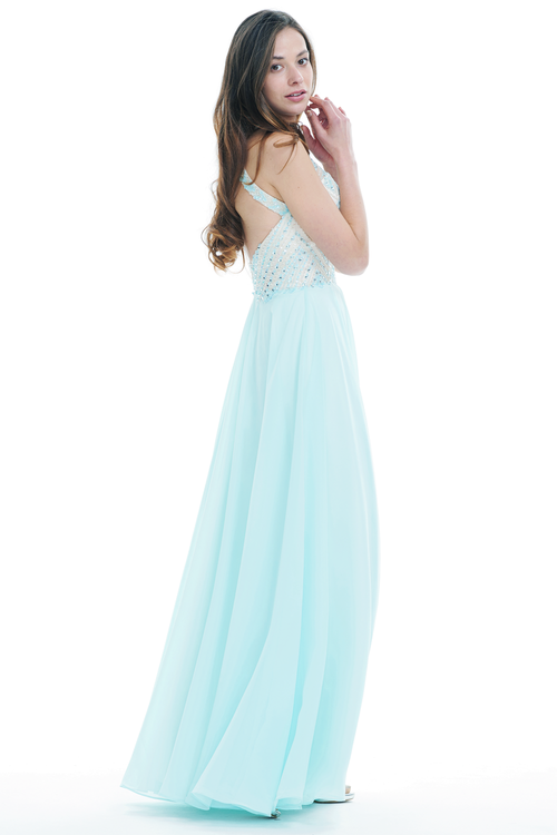 A-Line Scoop Halter Neck Floor-Length Chiffon Prom Dress With Beading Top