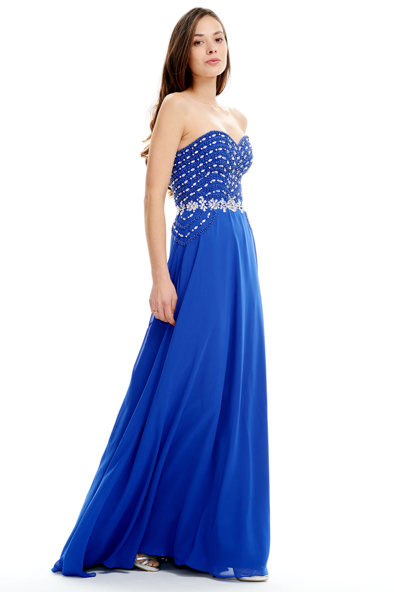 A-Line Strapless Sweetheart Floor Length Mermaid Prom Dress With Beading Top