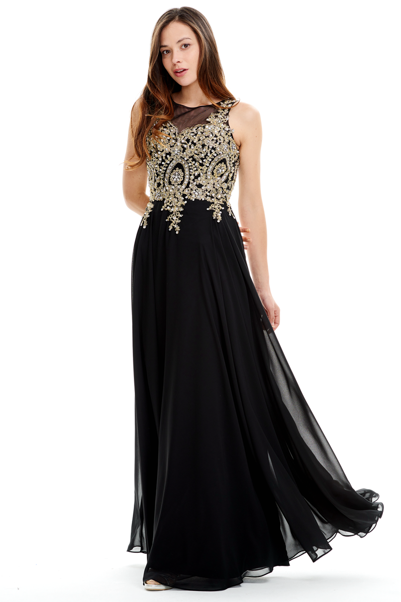 A-Line Scoop Neck Floor-Length Chiffon Prom Dress With Design Beading Top