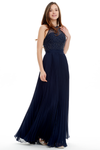 A-Line Scoop Neck Floor Length Pleated Chiffon Prom Dress With Beading Flower Top