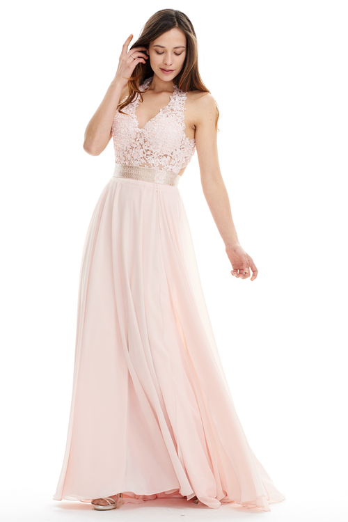 A-Line Deep V-Neck Floor-Length Chiffon Prom Dress With Sequins Belt