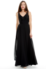 A-Line V-Neck Floor Length Pleated Chiffon Prom Dress With Beading Flower