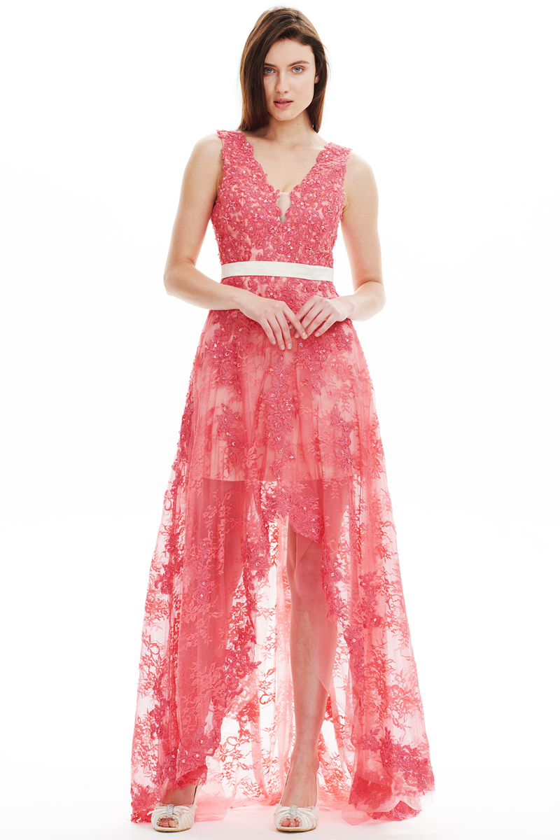 A-Line V-Neck High Low Sheer Lace Prom Dress With Beading